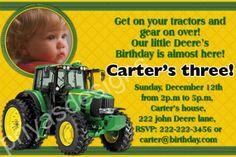 John Deere Tractor Birthday Party PHOTO Invitation  Digital cakepins.com