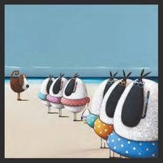 Teaching Ewe to Swim by Simon Clarke. Canvas and framed prints available from Cornwall Art Galleries. St Ives, Fishing Villages, Sheep, Whimsical, Baby Shoes, Art Gallery, Framed Prints, Swimming, Artists
