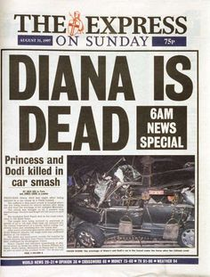 31 marks the anniversary of the tragic death of Diana, Princess of Wales: we take a look at how the world's press covered the event. Newspaper Front Pages, Newspaper Cover, Vintage Newspaper, Newspaper Headlines, Princess Diana Death, Princesa Diana, Lady Diana, Queen Of Hearts, Journal