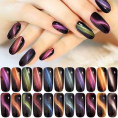 cat eye nails 1 Box Cat Eye Effect Magnet Mirror Powder - Beauty-Holic Glitter Nail Art, Nail Art Diy, Diy Nails, Cute Nails, Pretty Nails, Glitter Dust, Nail Nail, Glitter Pigment, Cat Eye Nails Polish