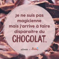 """""""Je ne suis pas magicienne mais j'arrive à faire disparaître du chocolat"""" Une citation pour les amoureuses... du chocolat <3 #chocolat #gourmande #Kinder #citation #humour"""