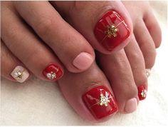 Christmas Package Toe Nail Design Nail Designs Pinterest Nail