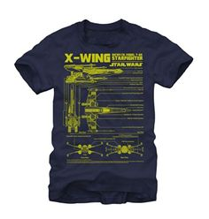 Fifth Sun Star Wars X-Wing Starfighter Mens T-Shirt (Large) Navy