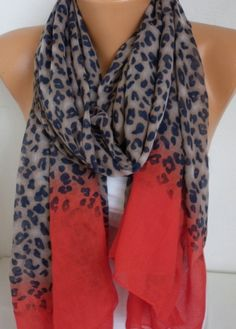ON+SALE++Leopard++Scarf++Shawl+Cotton+Scarf++Cowl+by+fatwoman,+$19.80