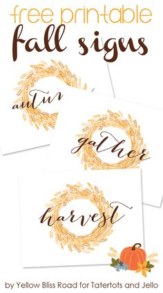 Use these Free Printable Fall Signs to decorate your home for Fall! Kristin from Yellow Bliss Road shows us how! Treatment Projects Care Design home decor Thanksgiving Crafts, Thanksgiving Decorations, Fall Crafts, Thanksgiving Celebration, Seasonal Decor, Halloween Decorations, Happy Fall Y'all, Fall Signs, Fall Diy