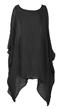 Ladies Womens Italian Lagenlook Quirky Short Batwing Sleeve Plain Linen Kaftan Loose Baggy Oversize Tunic Top Blouse One Size Plus (One Size Plus, Black)