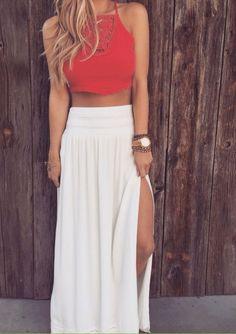 Super cute summer outfit. Slit high waist maxi skirt and red crop top.  #perfectbody