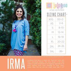 Lularoe Irma Size Chart Sizing Tunic Tops Lula Roe