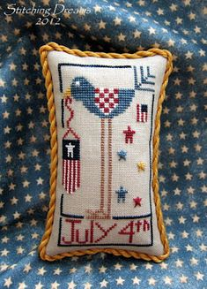 July from the Prairie Schooler book A Prairie Year made into a lovely… Cross Stitch Pillow, Cross Stitch Love, Cross Stitch Finishing, Cross Stitch Designs, Cross Stitch Patterns, Cross Stitching, Cross Stitch Embroidery, Embroidery Patterns, Cross Stitch Christmas Ornaments