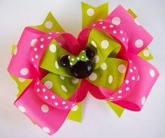Pink and Lime Boutique Minnie Mouse Hair Bow  Justines Boutique Bows