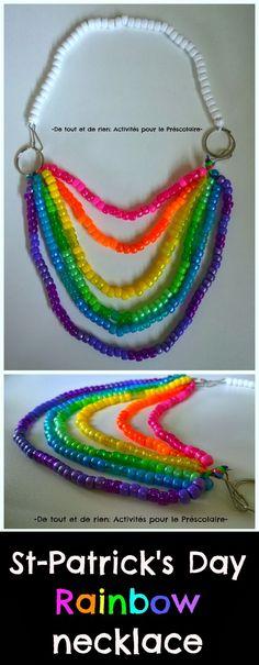 De tout et de rien: Activités pour le Préscolaire: St-Patrick's Day rainbow necklace - Collier arc-en-ciel de la fête de la Staint-Patrick