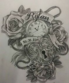 Lock Heart and Clock Tattoo Design