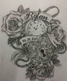Lock Heart and Clock Tattoo Design