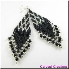 Jewelry, Earrings, Beaded, carosell creations, brick stitch, weave, woven, dangle, chandelier, glass, seed bead, pierced, accessories, hand by marisa