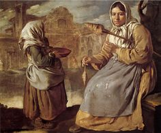 Little Beggar Girl and Woman Spinning, 1720, , Giacomo CERUTI (b. 1698, Milano, d. 1767, Milano).  Private collection |WGA