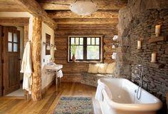 Badezimmer einrichten im rustikalen Landhausstil-moderne Keramik-Wanne
