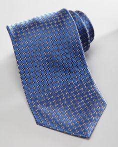 Armani Collezioni Neat-Check Silk Tie, Navy - Neiman Marcus