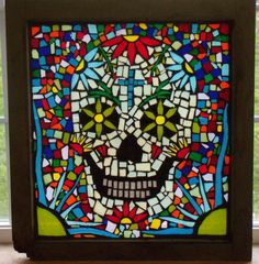 Day of the Dead Stained Glass Mosaic Window.