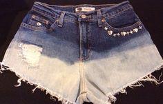 High Waisted 6 Denim Distressed Studded Studded  Shorts Festival  Studs Heart #FadedGlory #Denim