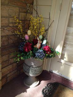 Urn Decorations For Spring Brilliant Spring Urn Arrangement  Early Blooming Forsythia Branches Design Decoration