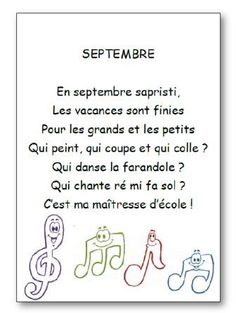 Comptine Septembre - Dessine-moi une histoire French Teacher, Teaching French, Teaching Tools, Teaching Kids, French Poems, High School French, Core French, French Classroom, French Immersion