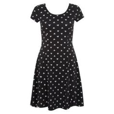 $14, Black Print Skater Dress: Exclusives New Look Black Heart Print Skater Dress. Sold by New Look. Click for more info: http://lookastic.com/women/shop_items/44207/redirect