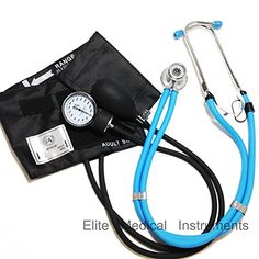 Elite Medical Instruments EBE340 Sprague Rappaport Stethoscope with Black Aneroid Sphygmomanometer Blood Pressure Cuff Set  Select Color Baby Blue BP Set *** Be sure to check out this awesome product.