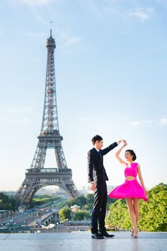Dancing in front of the Eiffel Tower, Paris