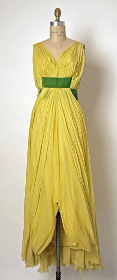 Evening dress Jean Dessès (French (born Egypt), Alexandria 1904–1970 Athens) Date: 1958–60 Culture: French Medium: silk Dimensions: Length (from shoulder): 60 in. (152.4 cm)