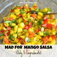 Two Fit Moms recipe for 5-ingredient Mango Salsa; healthy, delicious and simple to make.