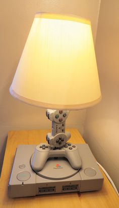 Playstation 1 Console and Controller Desk Lamp Sculpture Light with Lamp Shade