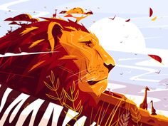 Majestic lion on safari designed by Anton Fritsler for Connect with them on Dribbble; the global community for designers and creative professionals. Anton, Wall Art Prints, Canvas Prints, Home Pictures, Flat Illustration, Canvas Pictures, Creative Art, Illustrators, Safari