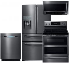 Samsung Black Stainless Steel Kitchen Package With 36 Inch French Door  Refrigerator, 30 Inch Freestanding Electric Range, 24 Inch Fully Integrated  ...