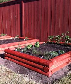 Nice log style  Raised Bed Vegetable Garden