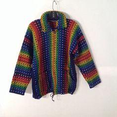 Cardigan Jacket Zip Up Rainbow Woven Sz Med #Unbranded #Cardigan