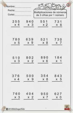 Fichas con ejercicios de multiplicaciones por una cifra para ...
