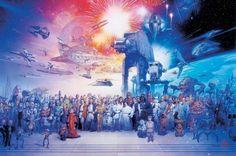 Póster Personajes Star Wars Precioso póster con la imagen de todos los personajes que vemos en la saga de Star Wars.