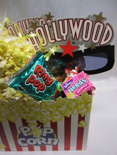 loot bags for a movie themed party by Davis Floral Creations
