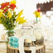 The jars with rocks and candles :)
