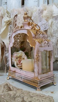 Glass and metal display case ornate pink gold by AnitaSperoDesign, $165.00