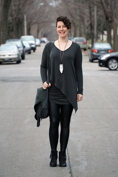 Already Pretty outfit featuring ruched tunic, faux leather leggings, black ankle boots, fringe handbag, crystal necklace