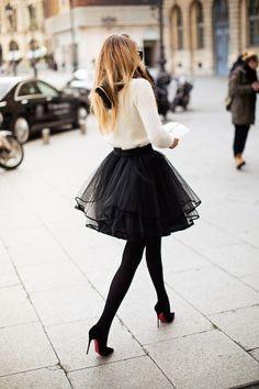 high waist skirt with a wool sweater.