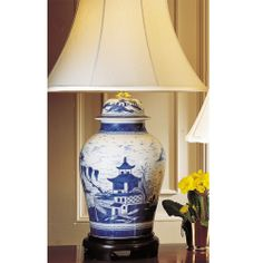 Blue Canton Ginger Jar Lamp, $1,500.00 - Mottahedeh with a somewhat more ornately carved base, this would be perfect! Ginger Jar Lamp, Ginger Jars, Blue And White, Carving, Lighting, Study, Rooms, Base, Home Decor