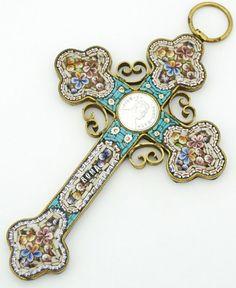 Antique Micro Mosaic Cross Pendant Pius x