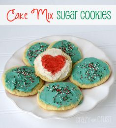 Cake Mix Sugar Cookies bywww.crazyforcru... ----These are my absolutely favorite sugar cooke recipe. Sooooo easy! Fluffy like Lofthouse, but slightly crispy on the bottom.