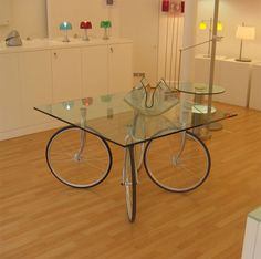 Bike wheel table.  Just thought it was cool looking.  :o)