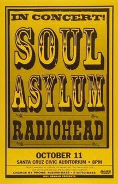 Soul Asylum / Radiohead - Santa Cruz Civic Auditorium (Santa Cruz, CA) Oct 1995 Rock Posters, Band Posters, Music Posters, Vintage Concert Posters, Poster Vintage, Soul Asylum, Cool Album Covers, Oct 11, Best Albums