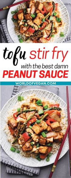 This tofu stir fry has the most amazing peanut sauce and is a great way to use up leftover vegetables. This recipe is a simple stir fry and only takes about 20 mins to cook. It's a salty and savory meal and is quicker than takeout being delivered to your door. You'll be so happy and satisfied with this stir fry tofu with peanut sauce recipe! Peanut Sauce, Stir Fry, Tofu, Fries