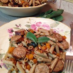 Roasted #ButternutSquash and #Sausage with #GlutenFree Penne #Pasta  #chickensausage #sage #applecinnamon #organic #easyrecipes #benefitsofsage