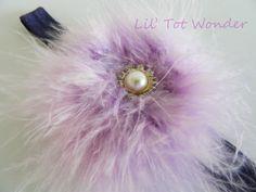 Headband fluff puff In Purple by LilTotWonder on Etsy, $12.50